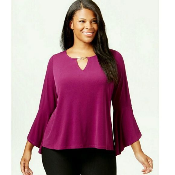 NY Collection Plus Size Keyhole-Neck Bell-Sleeve T NY Collection Plus Size Keyhole-Neck Bell-Sleeve Top 	The metal on the nickline is not included Polyester/spandex Machine washable Imported Scoop neckline; keyhole without chain detail Pullover styling Long bell sleeves Hits at hip NY Collection Tops