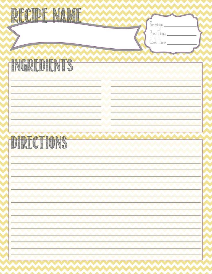 Printable Recipe Card Recipe Binder Recipe Card