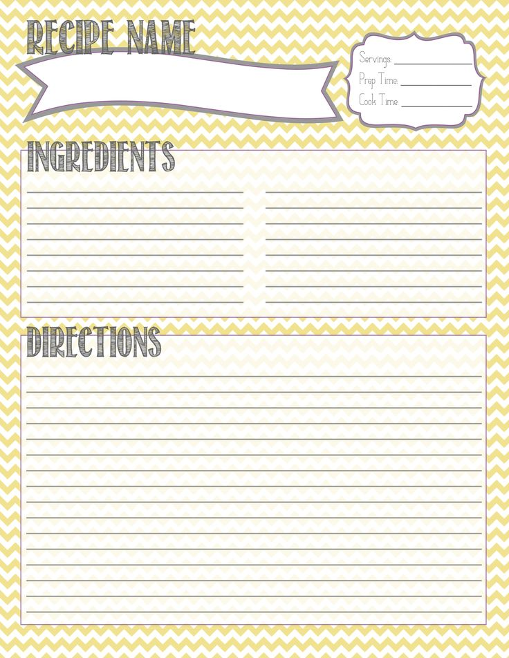 Printable recipe card personal agenda ideas pinterest for Free printable full page recipe templates
