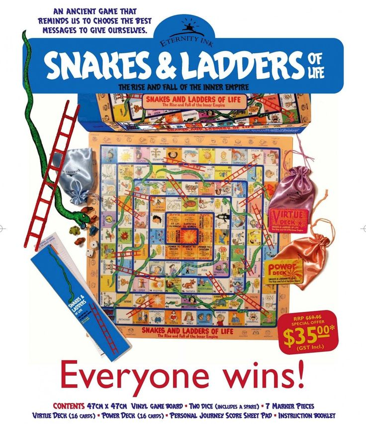 Eternity Ink - Snakes and Ladders of Life - The rise and fall of the inner empire - fun values game for kids, $35.00 (http://www.eternityink.com.au/for-kids-books-games/snakes-and-ladders-of-life-the-rise-and-fall-of-the-inner-empire-fun-values-game-for-kids/)