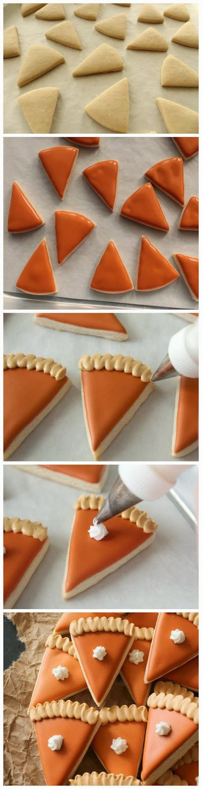 Mini-Pumpkin Pie Cookies - These are just too cute !!! Very creative and yet so simple…      Ingredients    Pumpkin orange 20-second icing  ...
