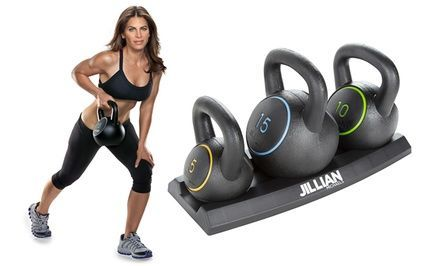 Kettlebell set offers variety of workouts to target the core muscles while hitting essential cardio; comes with instructional DVD
