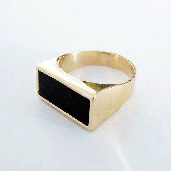Gold signet ring  14kt Gold Black onyx ring  Gold  Pinky