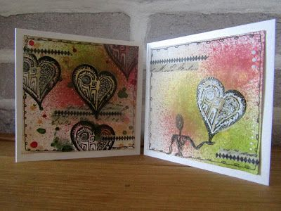 Heart cards using the mini heart stamp from The Artistic Stamper designed by Gemma Hynes #theartisticstamper #inkykitty #hearts #neilwalker