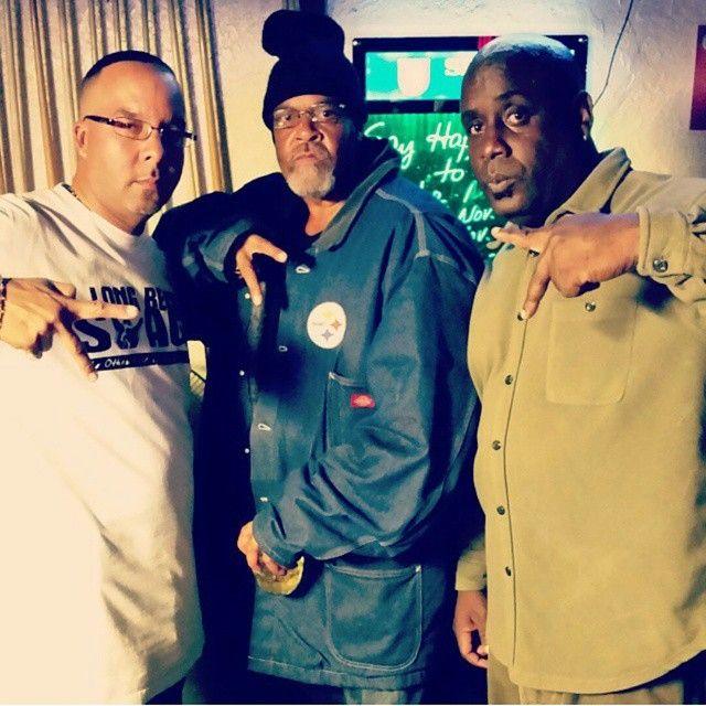 The Bigg Homies: OGs John-Pierre (l), Big Jimmy (center), and Big Pig (E/S Rollin' 20s LBC) #ogstatus #eastside #crip #deuces