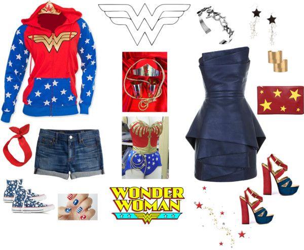 Wonder Woman by missweste featuring white shoesBalmain mini dress, £4,110 / J.Crew jean shorts, £52 / Converse white shoes, £82 / 2 Lips Too high heel shoes, £38 / STELLA McCARTNEY star purse / Matthew Williamson beaded jewelry / Cuff jewelry, £22 / Black star earrings, £1.96 / RED Valentino red headband, £66 / Nail treatment, £2.63 / wonder woman cuffs, tiara, lasso set, £92 / DC Comics Wonder Woman Foil Logo Crown Juniors Hoodie, £18
