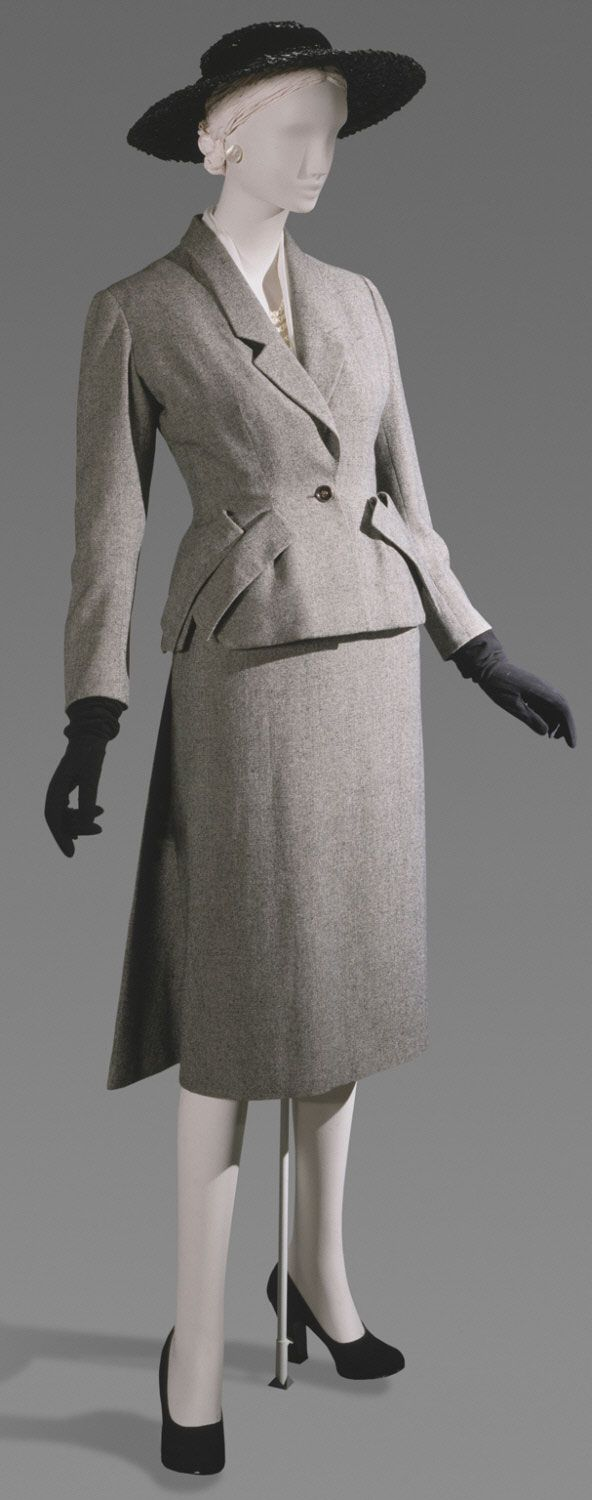 Christian Dior Suit France Spring 1949 Black and white wool twill
