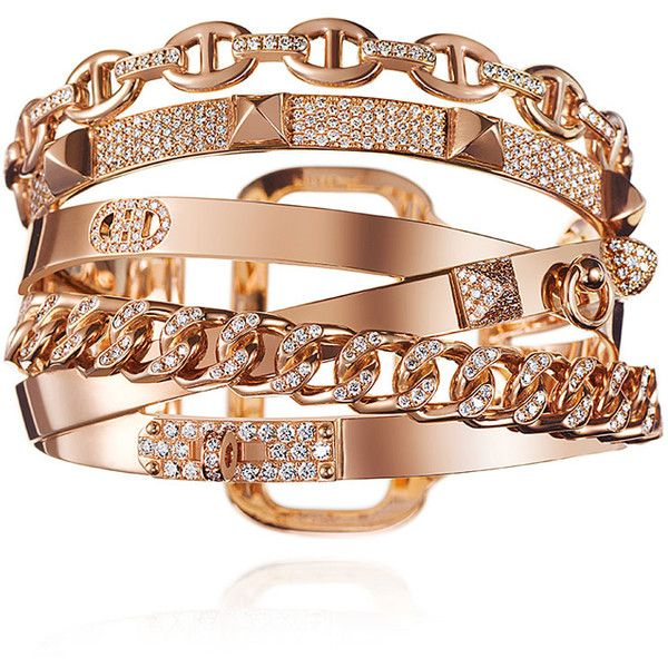 Alchimie Hermes Rose Gold Bracelet (155,630 CAD) ❤ liked on Polyvore featuring jewelry, bracelets, equestrian jewelry, rose gold bangle, rose gold fine jewelry, fine jewellery and red gold jewelry