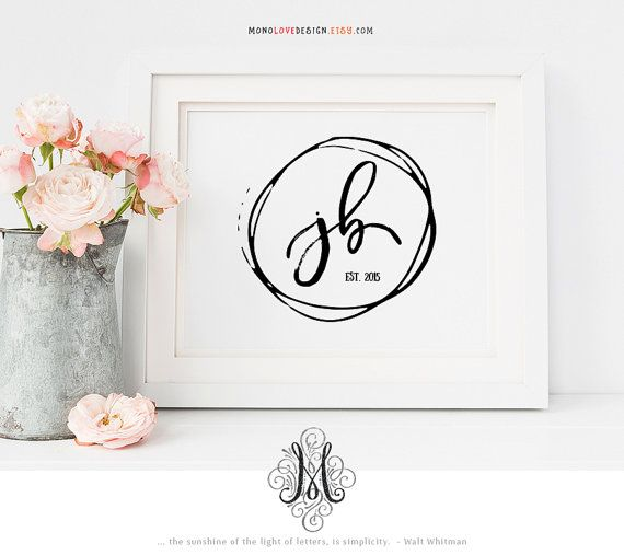 Wedding Monogram Logo Design Save The Date Logo Hand Drawn Logo Name Initial Art Monogram Logo Personal Monogram Design Minimalist Logo