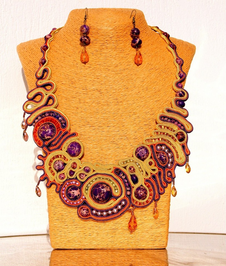 Freeform necklace in soutache technique , with sediment jasper, freshwater pearls, seed beads