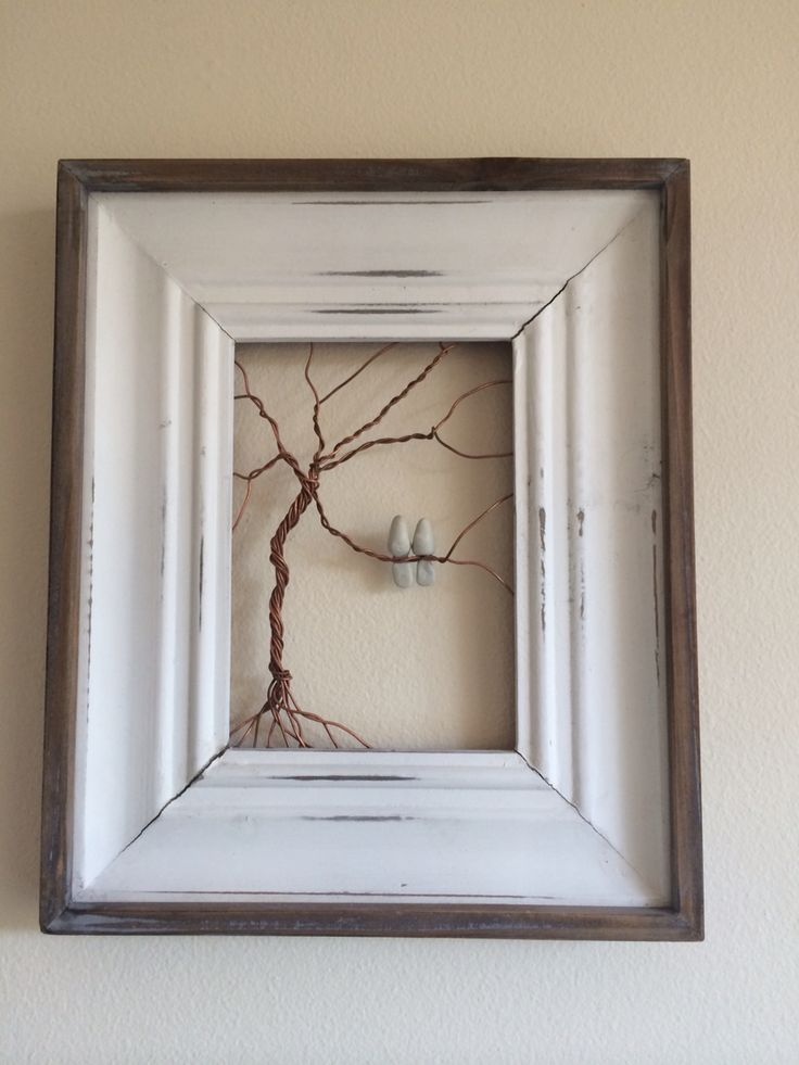Copper wire and fimo in an old photo frame