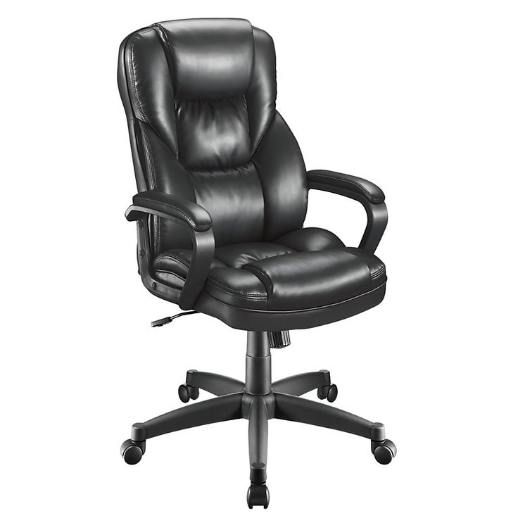 Home Depot Office Chairs: Realspace Fosner High Back Bonded Leather Chair 48 H X 28