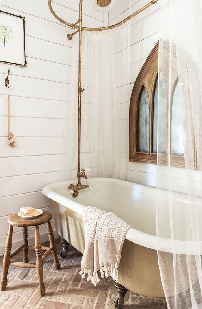 This cozy bathroom gets a farmhouse facelift featuring all our favorite things. Click this pin to check out the floor to ceiling transformation from Jenna Sue Design Co.