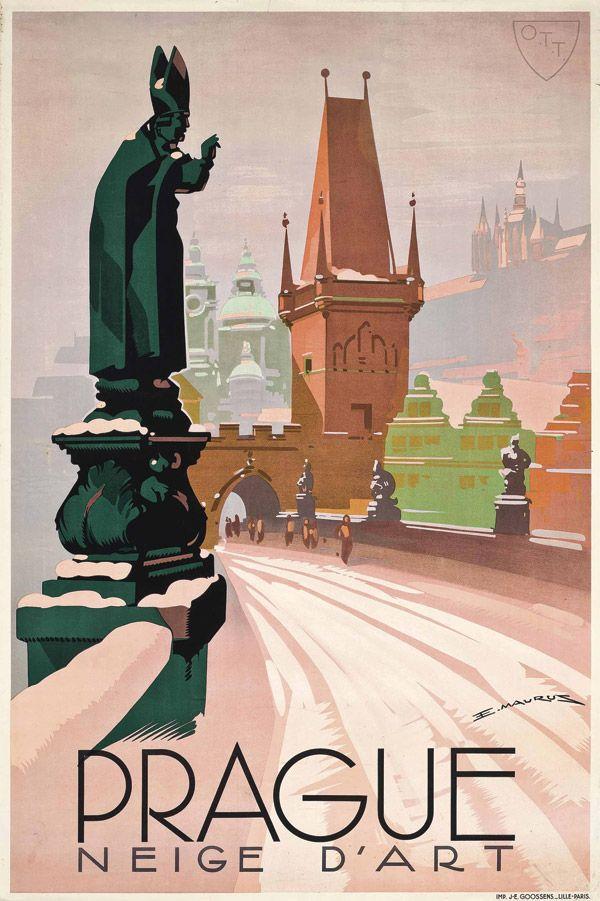 Vintage Travel Poster - Prague