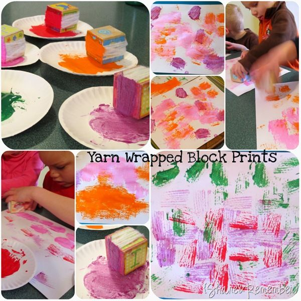 many ways to paint - yarn wrapped block prints