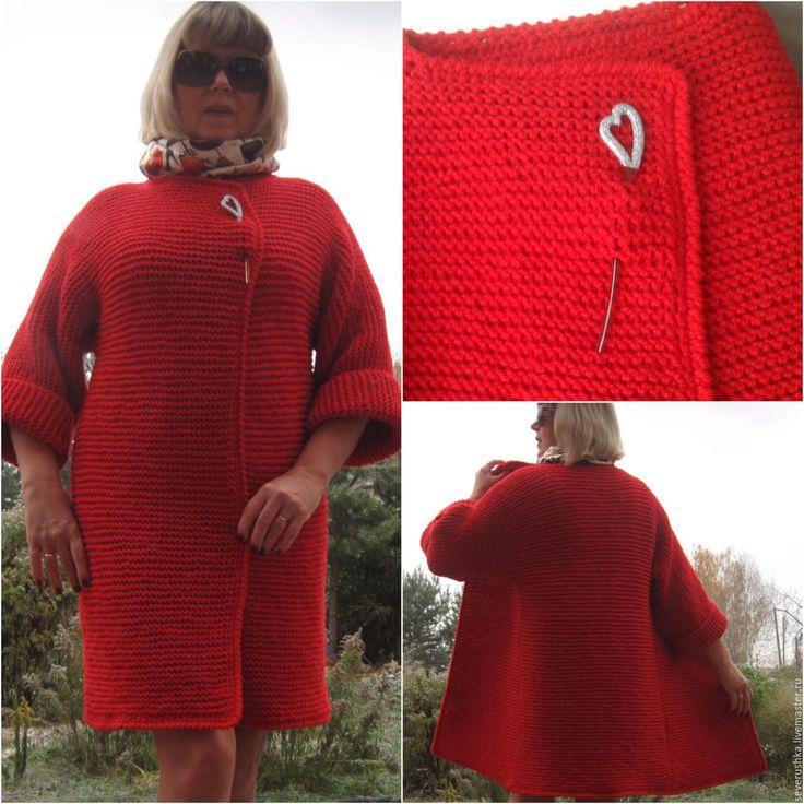Купить Пальто красное - ярко-красный, однотонный, пальто вязаное, кардиган вязаный, стильное пальто