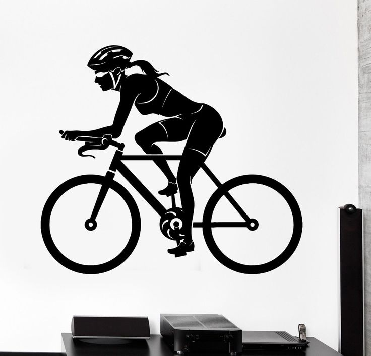 Free Shipping Sports Wall Sticker Bike Bicycle Woman Female Cyclist Vinyl Decal Fashion Removable Wall Decals KW-204