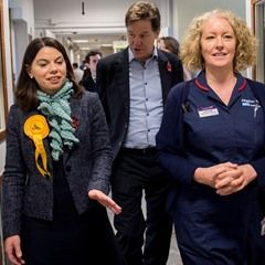 Nick Clegg and Sarah Olney tour Kingston Hospital as part of their election campaign