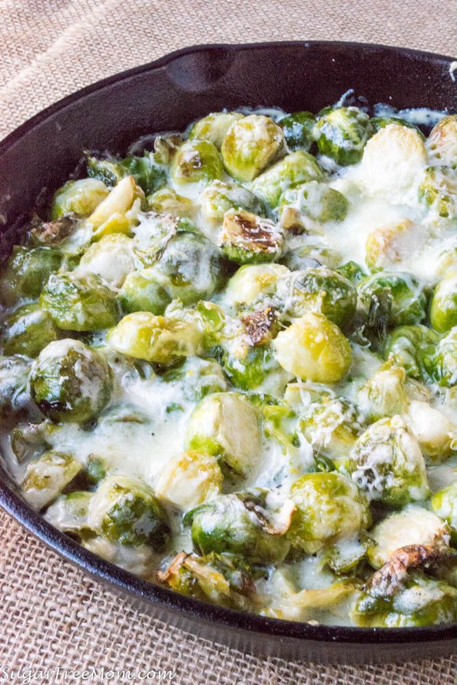 Low Carb Cheesy Brussels Sprouts Gratin- grain free, gluten free, THM, keto www.sugarfreemom.com