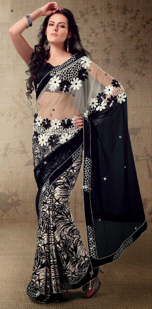 "Bollywood Embroidery Designer Saree Partywear Sari Fabric M2504A ""ETHNIC EHS"""