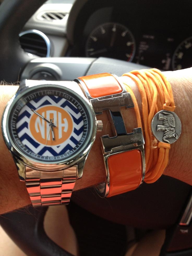 Auburn colored monogrammed watch!