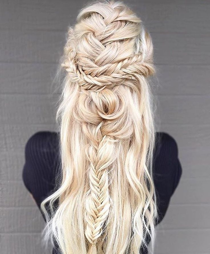 Woven braids + soft blonde waves. Intricate details set you and your hair apart from the pack. #T3Inspo #hair #braids #blonde