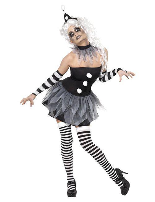 Cirque Sinister Teuflischer verruchter Pierrot Zirkus Damen-Kostüm schwarz-weiß - Artikelnummer: 430850000 - ab 29.90EURO - bei Karneval-Megastore.de!