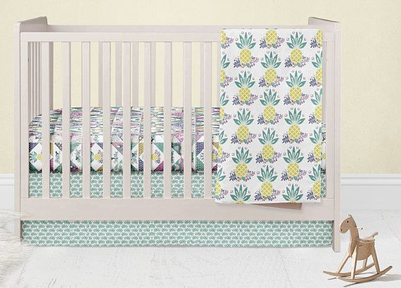 Tropical Crib Bedding Set Pineapple Infants Crib Skirt
