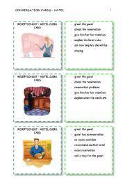 English worksheet: conversation cards - hotel 5