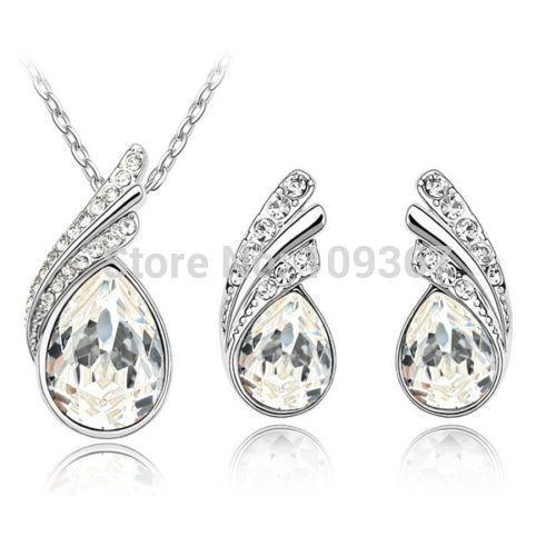 Слеза белый ясно крыло ангела серьги ожерелье комплект кристалл , похожий на бриллиант ювелирные изделия подарок позолоченный серебряный крюк