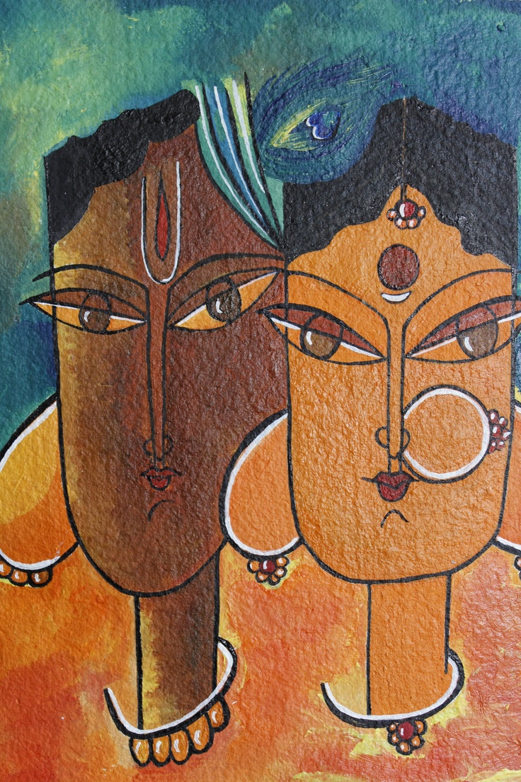 Indian Lord Krishna acrylic portrait painting, Amazing Radha Krishna, Gift for women, 8 x 11 inches, FREE Shipping in USA