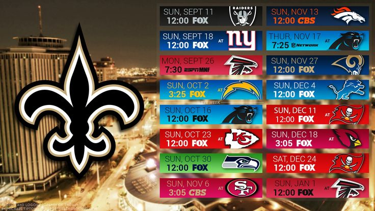 2016 New Orleans Saints Football Schedule Wallpaper