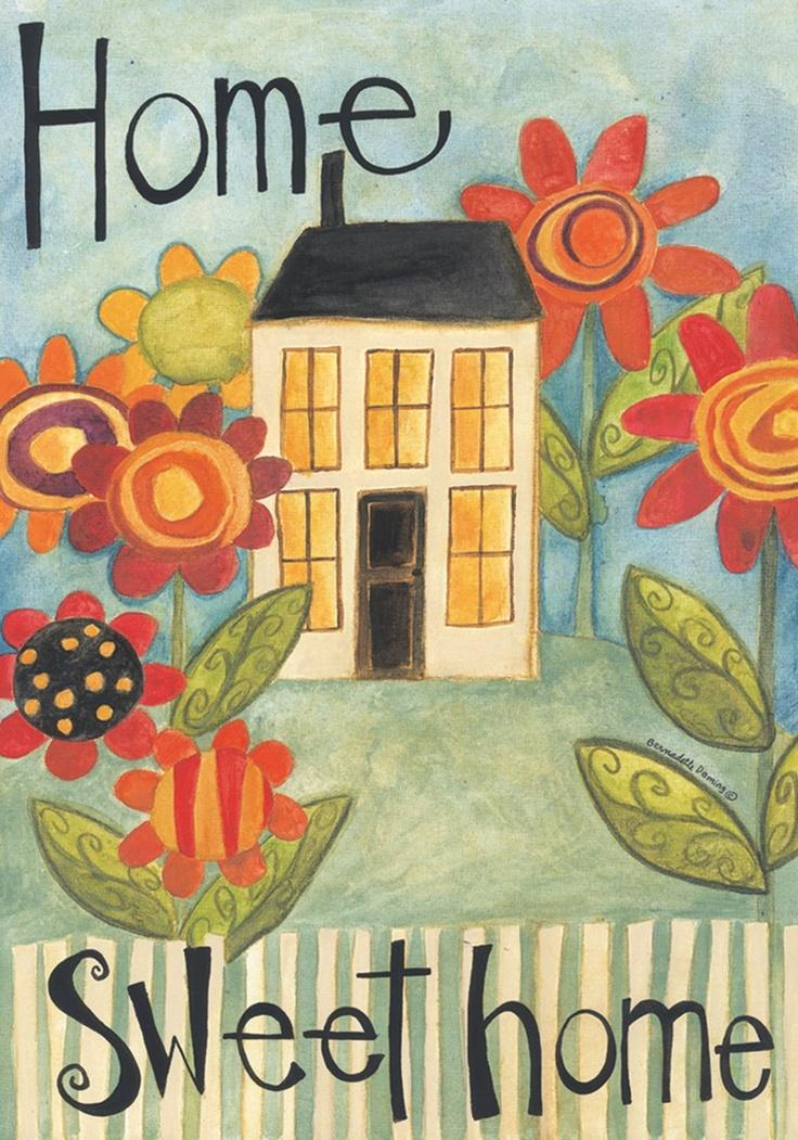 Home Sweet Home Garden Flag Mini House Flowers Stripes