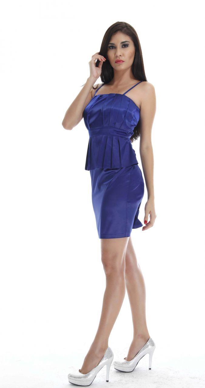 Abiye Modelleri Mavi Kısa Abiye Elbise