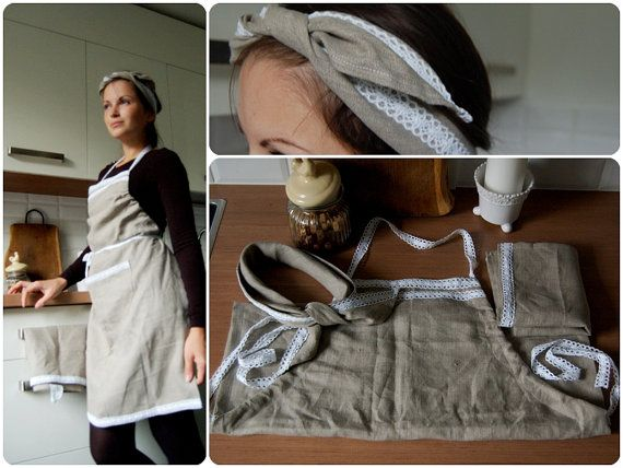 Handmade country style set of linen apron with by LovelyCraftsHome