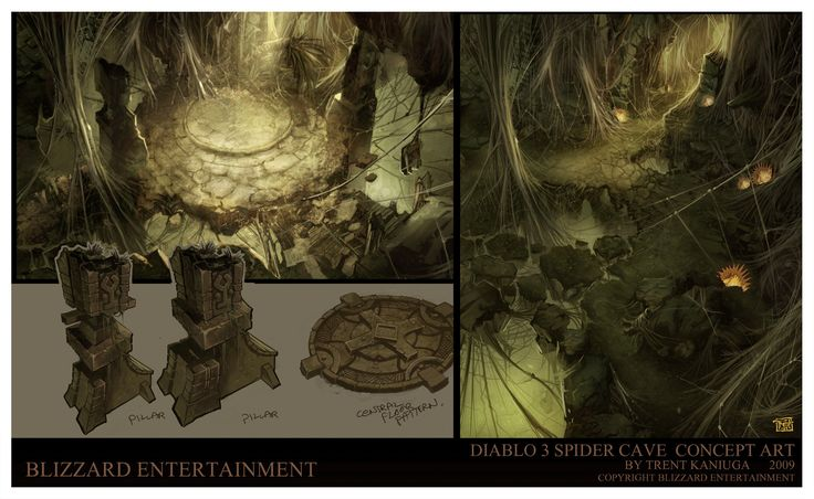 Diablo 3  Spider Caves, Trent Kaniuga on ArtStation at https://www.artstation.com/artwork/lyylY