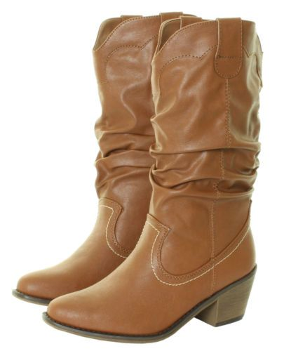 Ladies-Cowboy-Line-Dancing-Western-Ruched-Cuban-Festival-Tan-Black-White-Boots