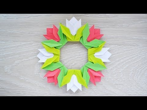 Origami for Everyone – From Beginner to Advanced – DIY Fan Diy Origami, Tulip Origami, Origami Wreath, Origami Simple, Cute Origami, Origami Decoration, Origami Ball, Money Origami, Origami Fish