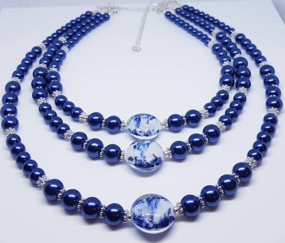 pearl and crystal necklace silver plated necklace white and navy necklace beaded necklace Necklaces for women necklace for women