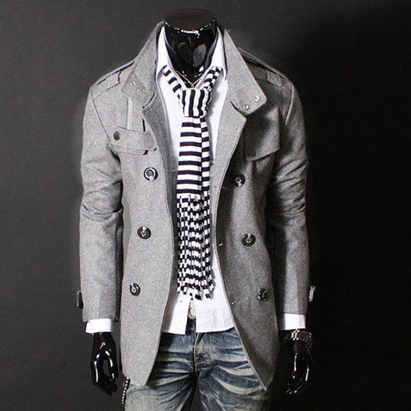 s double breasted stand collar trench coat ($44) ❤ liked on Polyvore featuring men's fashion, men's clothing, men's outerwear, men's coats, light grey, mens double breasted coat, mens fur collar coat, mens double breasted trench coat and mens trench coat