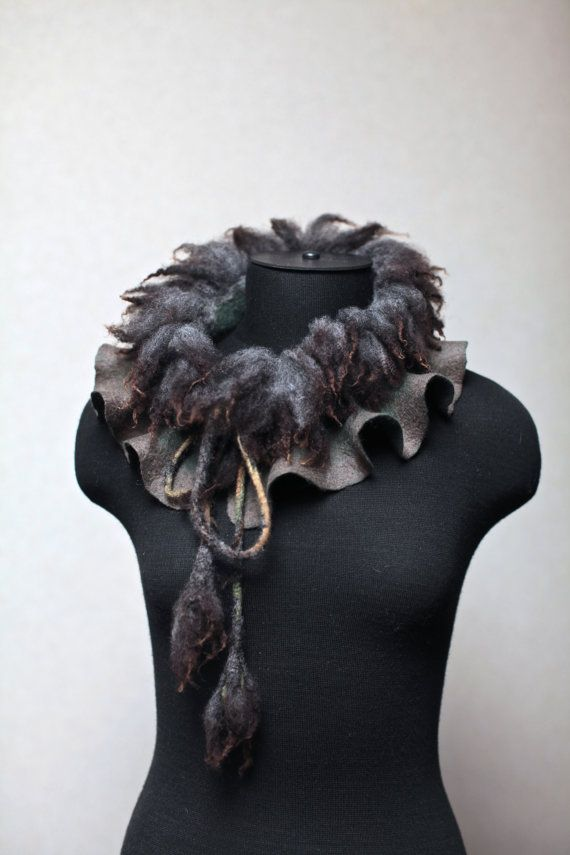 Felted Scarf Wool Felt Collar Raw Sheep Locks by FeltedPleasure, $65.00