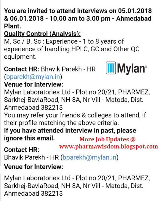 PHARMA WISDOM: Mylan Laboratories Ltd - Walk-In Interviews