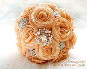 Peach Bridal Fabric Bouquet - Brooch Bouquet - Peach HANDMADE Fabric Bouquet, Unique Wedding Bridal Bouquet