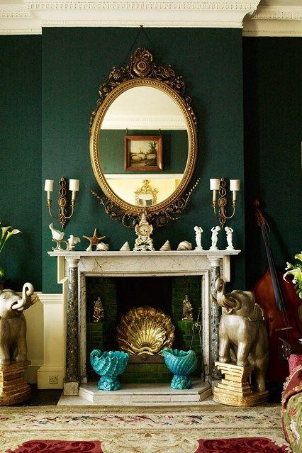 Traditional Dark Green Living Room | Green Paint