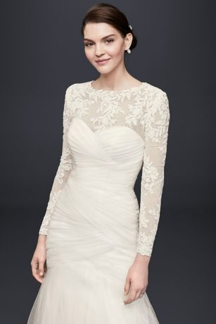87 best images about cleavage or arm covers on pinterest for Wedding dress with swag sleeves