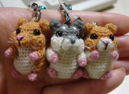 Crochet hamster keychain