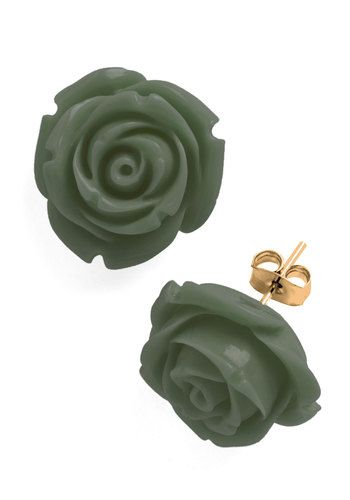 Retro Rosie Earrings in Olive, #ModCloth