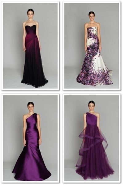purple gowns... except for the last one