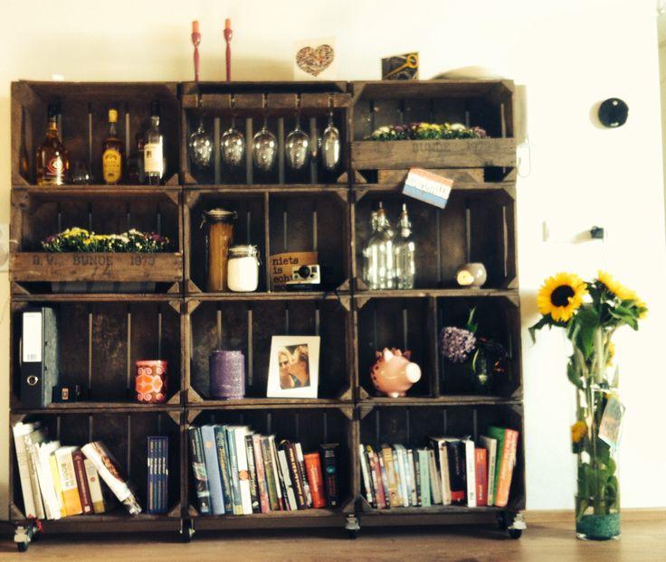 Kast gemaakt van oude fruitkistjes wonen pinterest - Maken van zijn boekenkast ...