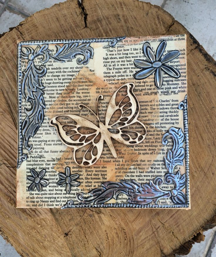 Mixed media, pewter embossed block canvas made by Lee @the pewter room